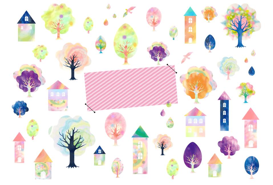 メルヘン素材(水彩、春、夏、秋、冬、植物、木、葉、カモメ、鳥、家、しずく、水滴、パステル、手描き、癒し、北欧、ナチュラル、カラフル、ポップ、ガーリー、メルヘン)