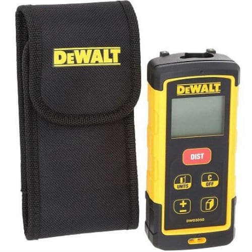 The DeWalt DW03050-XJ, is a very robust laser distance measurer, capable of taking measurements up to 50 meters (193ft), with a accuracy of 1.5mm, making it extremely accurate.