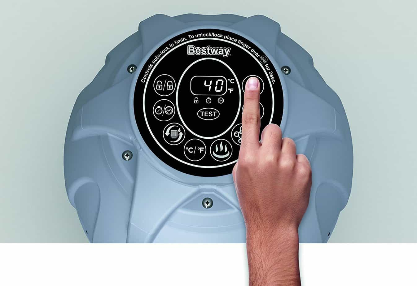 Lay-Z-Spa Paris inflatable hot tub control panel