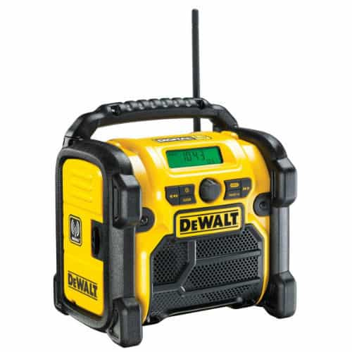 The DeWalt DCR020 Compact Jobsite Radio has more advantages for you, if you are looking for powerful sound and longevity in service.  If you are looking for extra features like Bluetooth connectivity, you might want to find another model. Otherwise, this can be a valuable addition to your working life and overall is a brilliant affordable radio, we really like the added compartment which you can place your phone or mp3 player in and the usb port is handy for charging your mobile phone which is a great addition.