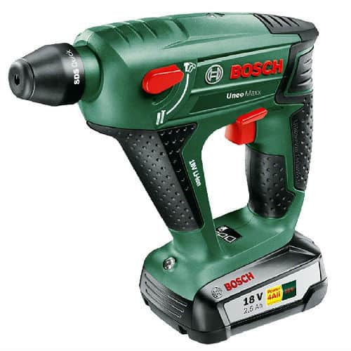 The Bosch UNEO Maxx Cordless Hammer Drill is another lightweight beauty that we have in this review.  Its light body offers excellent performance and durability. Its maximum speed of 900rpm is quite low compared to some of the brands in this review. Although the speed is not very high it is a hammer drill that DIY lovers would enjoy. It is easy to handle and would work well with small to medium projects.
