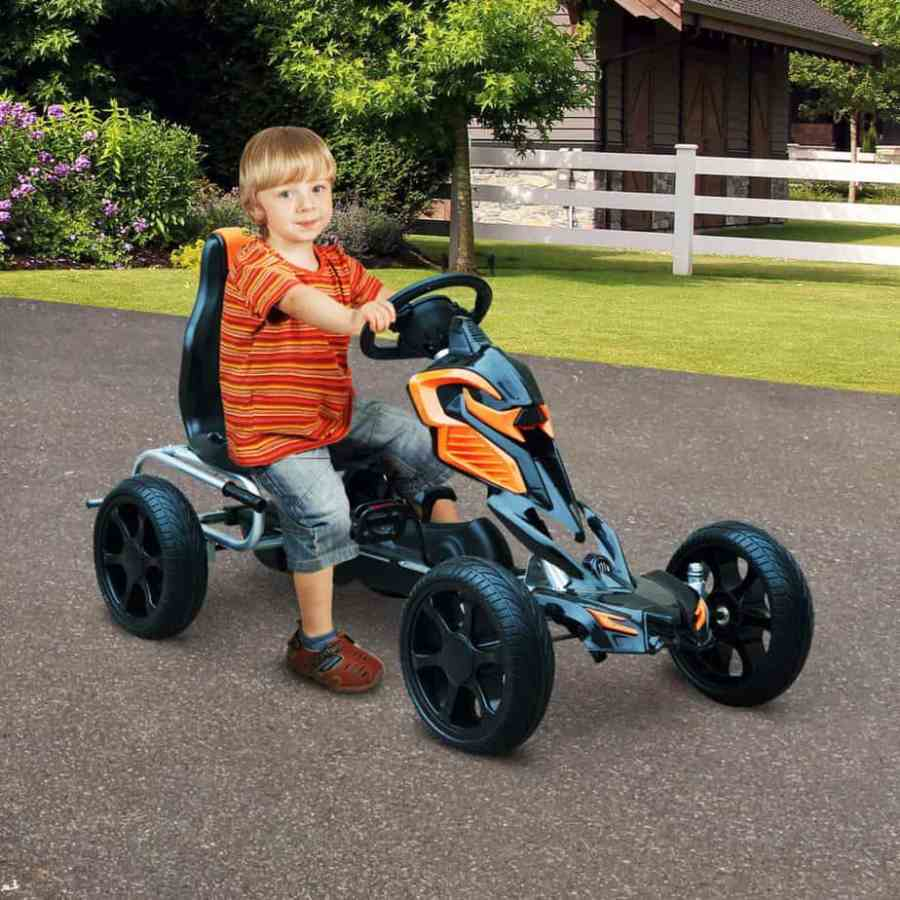 The HOMCOM Pedal Go Cart Ride looks appealing especially how they mixed the orange and black. This model is built to last for as long as it is well maintained. We like the design of the seat and the adjustable features presented. Whether it is outside the curb or inside the house the unit will serve you well. Assembly may be a tad frustrating but in the end, it proves manageable. If you get fixtures that do not fit the model then contact your supplier for replacements. We recommend this for those who need an affordable model that is comfortable for children between 3-8 years old.