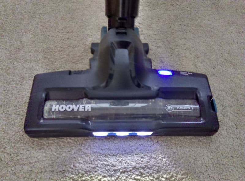 LED lights in the front help illuminate the area your vacuuming and also comfirm the hoover is in power mode with the rotating brush