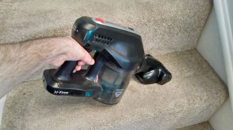 Hoover H FREE HFCPT on stairs with pet attachment. We foudn it excellent for cleaning carpet on stairs even without any pet hair.