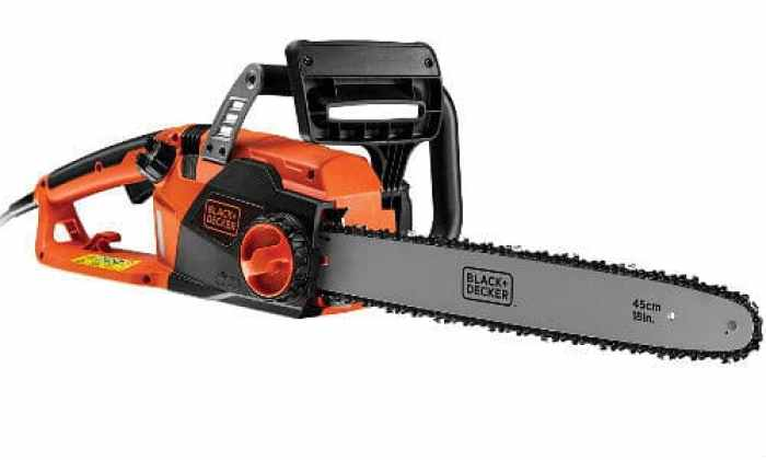 This is one of the best corded chainsaws we have seen, its well balanced when held in two hands and is very comfortable to use. This model is probably the best option for someone who may have larger logs and stumps to cut into sections, as you have that extra cutting length to get through them in one single cut, rather than trying to rotate the log which we often find our self doing.