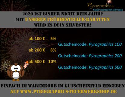 Feuerwerk online kaufen von Pyrographics Feuerwerkshop - Rabattaktion 2020