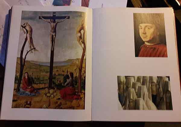 Zwei Textseiten mit Bildern der Renaissance, auf denen kein Text zu sehen ist.