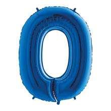 Palloncino mylar blu 1 mt Numero 0