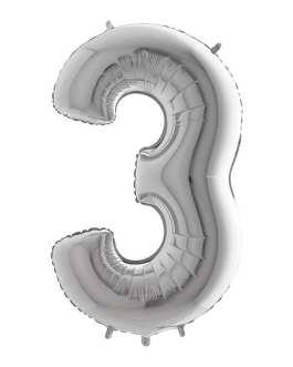 Palloncino mylar argento 1 mt Numero 3