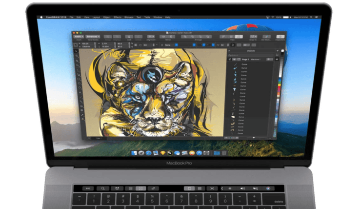 CorelDRAW Graphics Suite 2019 para Mac: Toque la Barra de apoyo