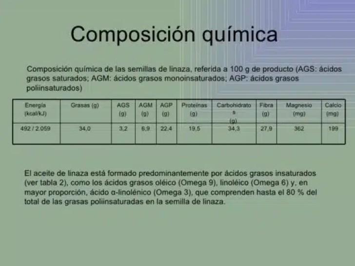 linaza composición quimica