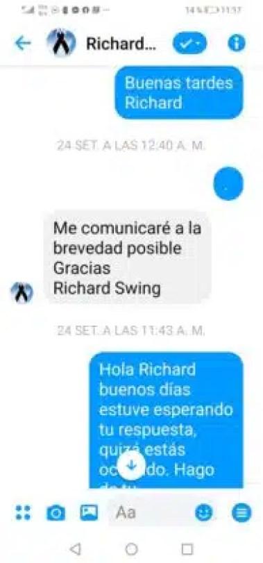 messeger entre Richard Swing y Enrique Basurco