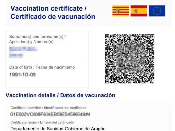 Tarjeta de vacunación para viajar