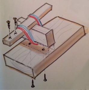 Principskiss - Ett tips är att förborra hålen så går det lättare att skruva fast delarna. en sked kan klämmas fast i gummibanden