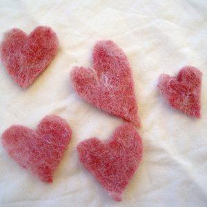 Enkla röda hjärtan stickers, 5 pac