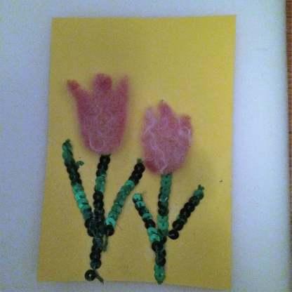 Vår kort med tulpaner