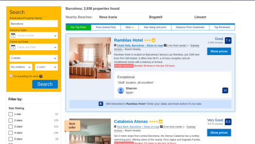 Selenium: Web Scraping Booking com Accommodations