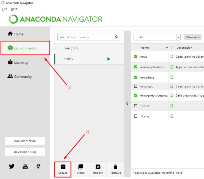 anaconda navigator create environment