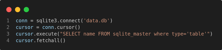 find all table names in sqlite database