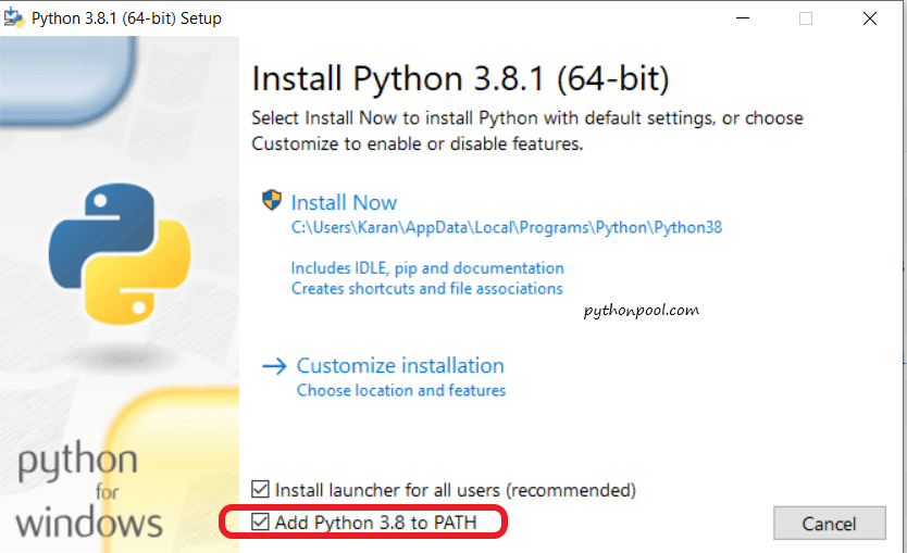 Installing Python 3.8 Python is Not Recognized as an Internal or External Command.