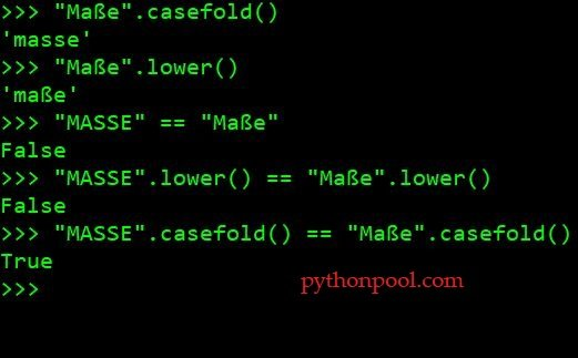 lowercase Python string using casefold