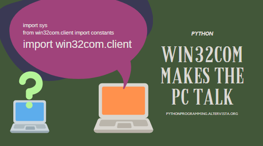 Python 3 7: install win32com modules and make pc talk