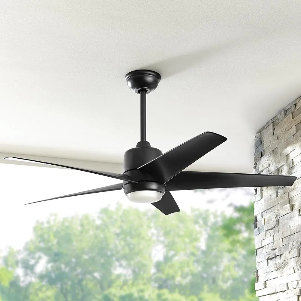 hampton bay mara 54 in white color changing integrated led indoor outdoor matte black ceiling fan with light and remote control