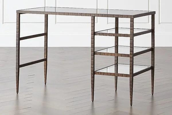 Crate & Barrel Clairemont Glass Top Desk