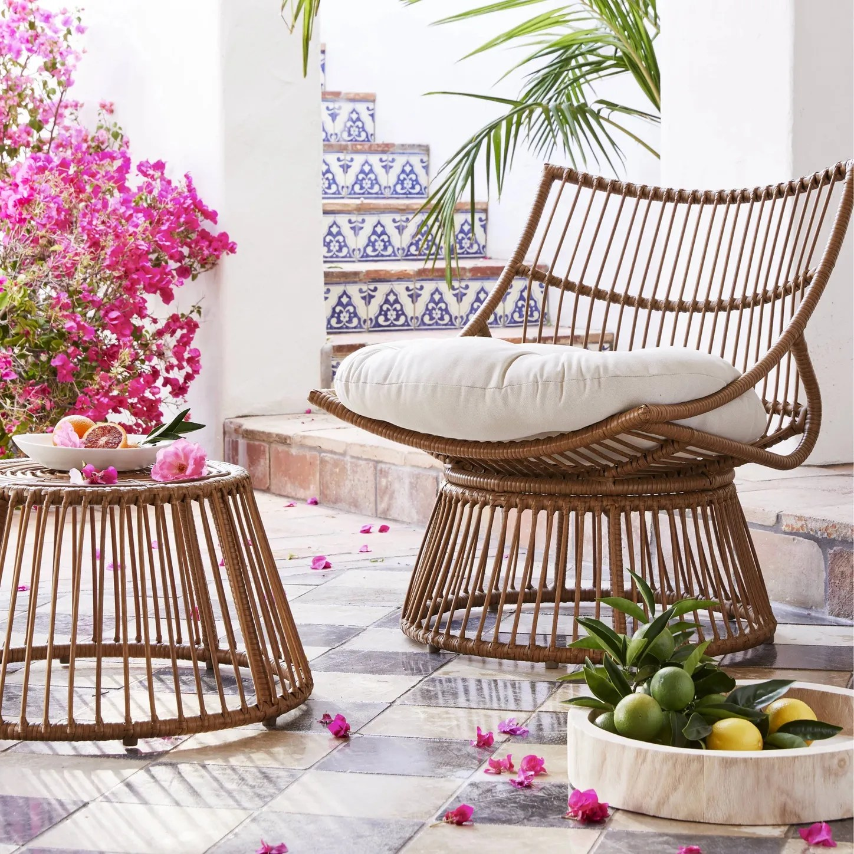opalhouse borealis 2pc patio papasan chair ottoman set