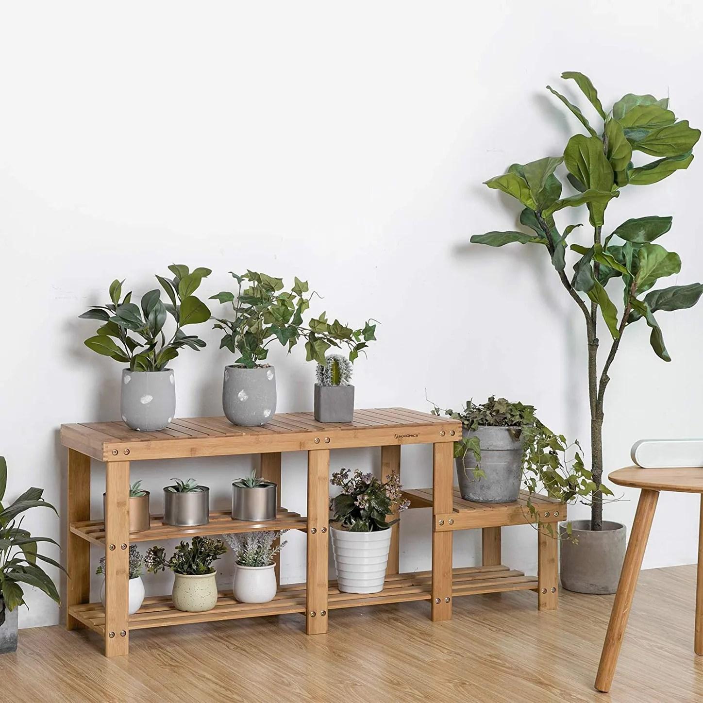 songmics bamboo shoe bench and storage rack