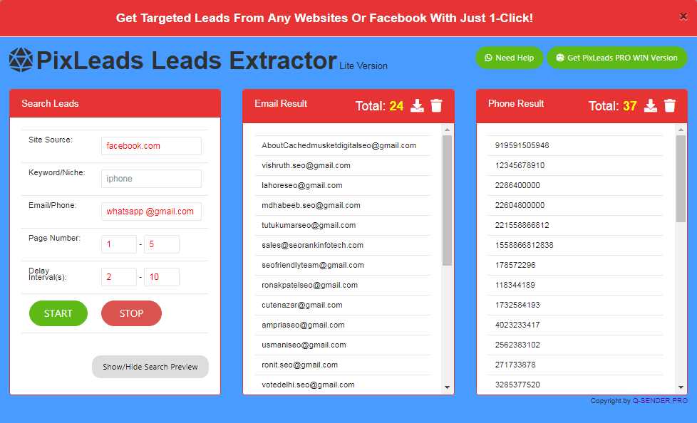 PixLeads Leads Extractor Lite Version