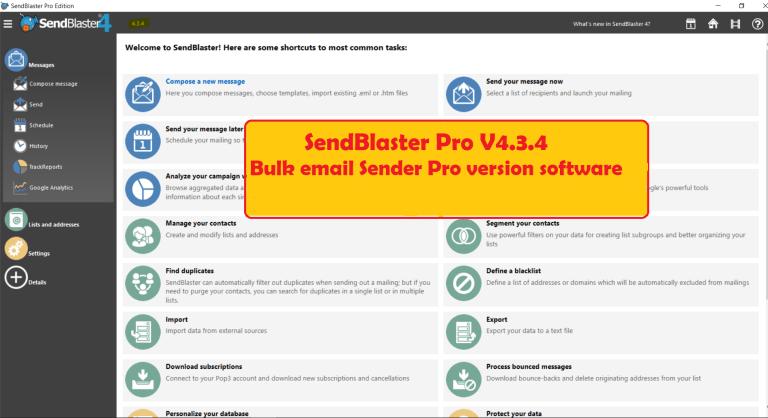SendBlaster Pro V4.3.4 - Bulk email Sender Pro version software