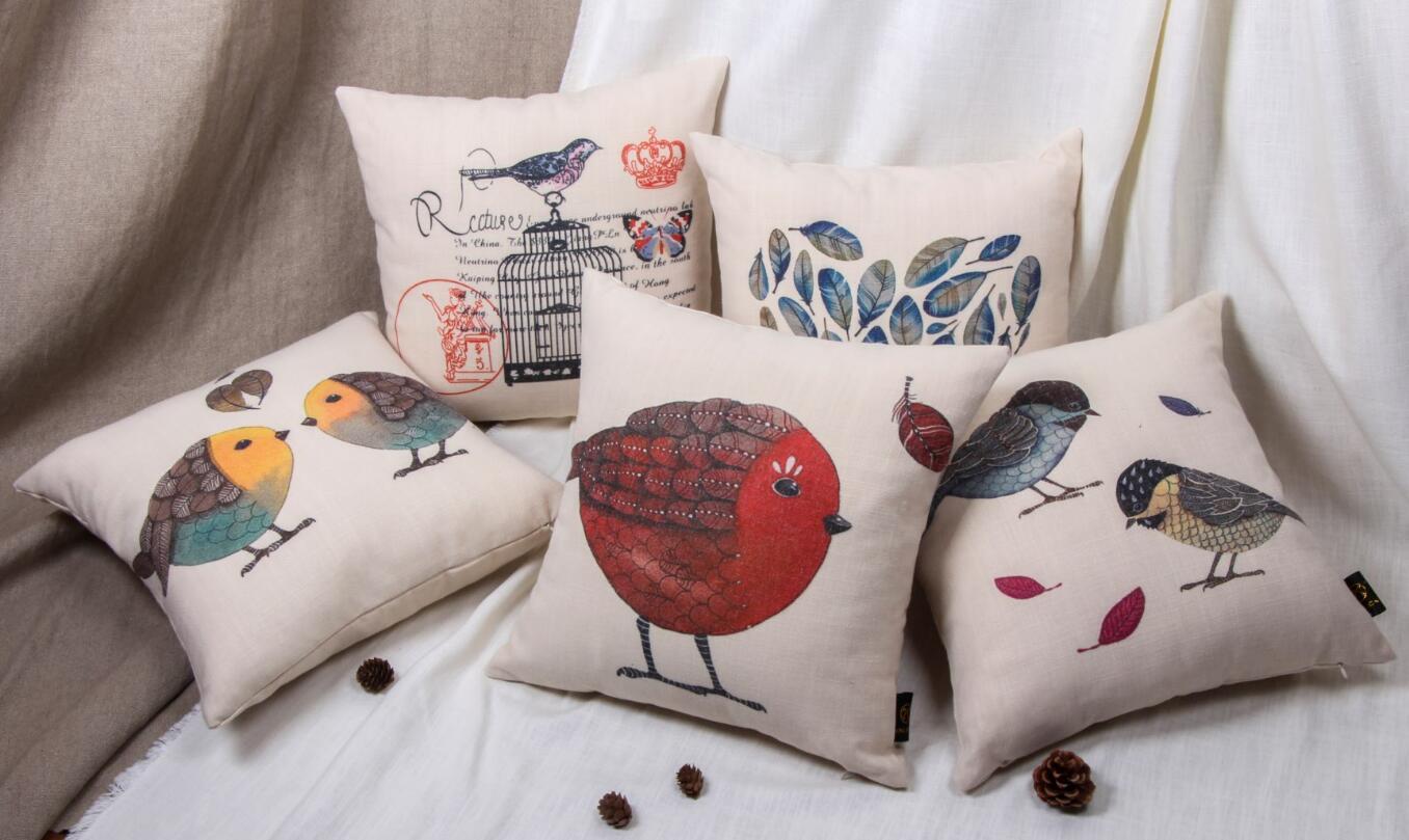 product printed small birds sofa cushion or cushion covers home deco cushion or cushion covers cushion pillow making pillow cushion for bench cushion pillow diy www xinlionpro com