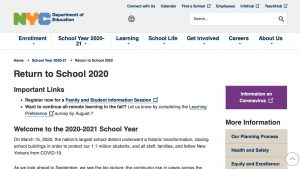 Read more about the article NYC DOE's Return to School 2020 website