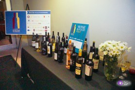 Wines on table at entrance