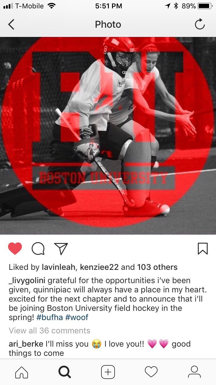 Quinnipiac field hockey sophomore captain transfers to Boston