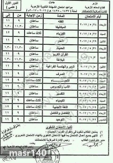 جدول امتحانات الشهادة الثانوية الأزهرية علمي وأدبي 2017 مديرية