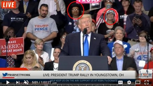 Vincent Fusca and 'friend' behind President Donald Trump at Youngstown, Ohio MAGA rally.