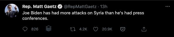 Joe Biden More Attacks on Syria Than Press Conferences