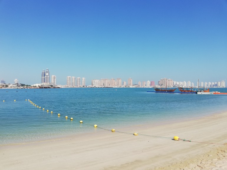 A daytime view from Katara beach towards the Pearl