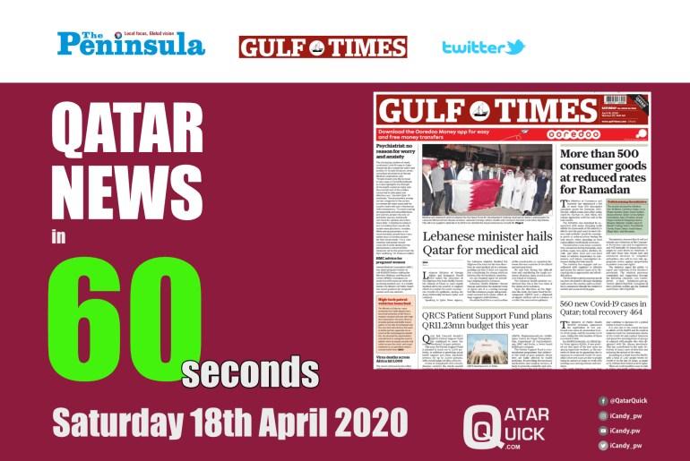 Qatar News in 60 Seconds - Saturday 18th April 2020
