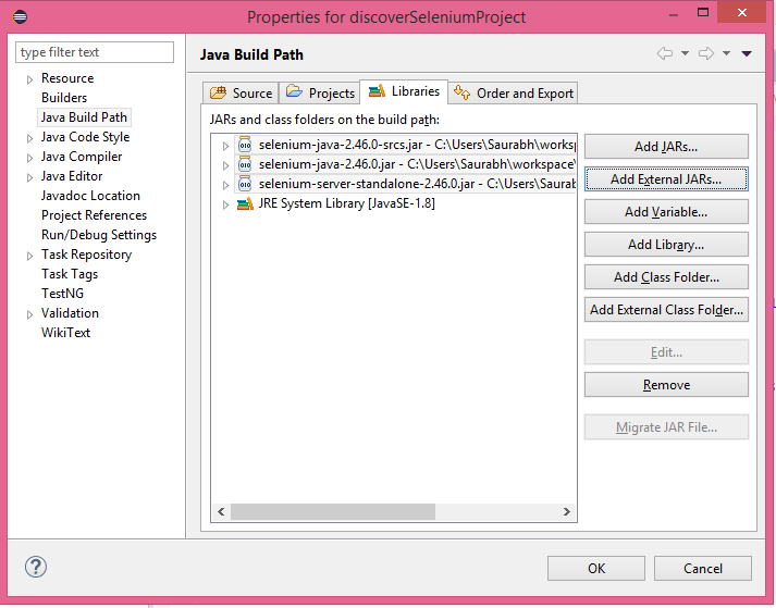 Importing Selenium Jar files in Java Project