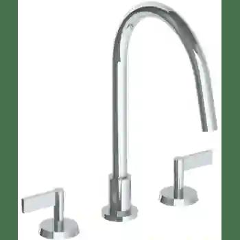 deck mounted 3 hole gooseneck kitchen faucet