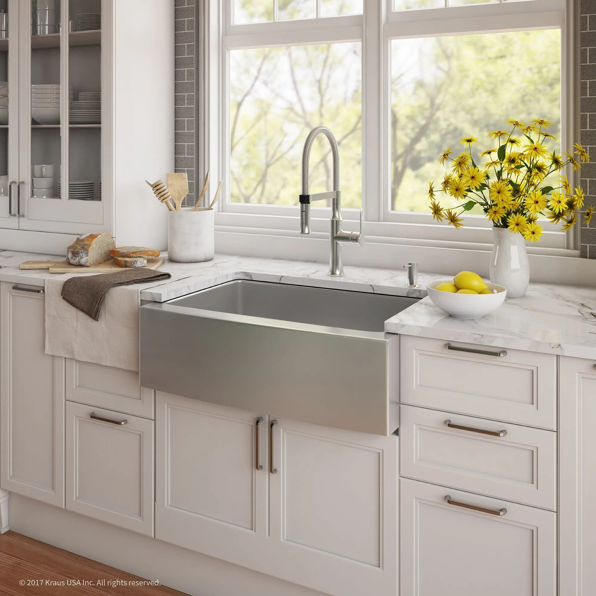 kraus khf200 30 1640 42ch 29 3 4 kitchen sink combo with chrome faucet and soap dispenser