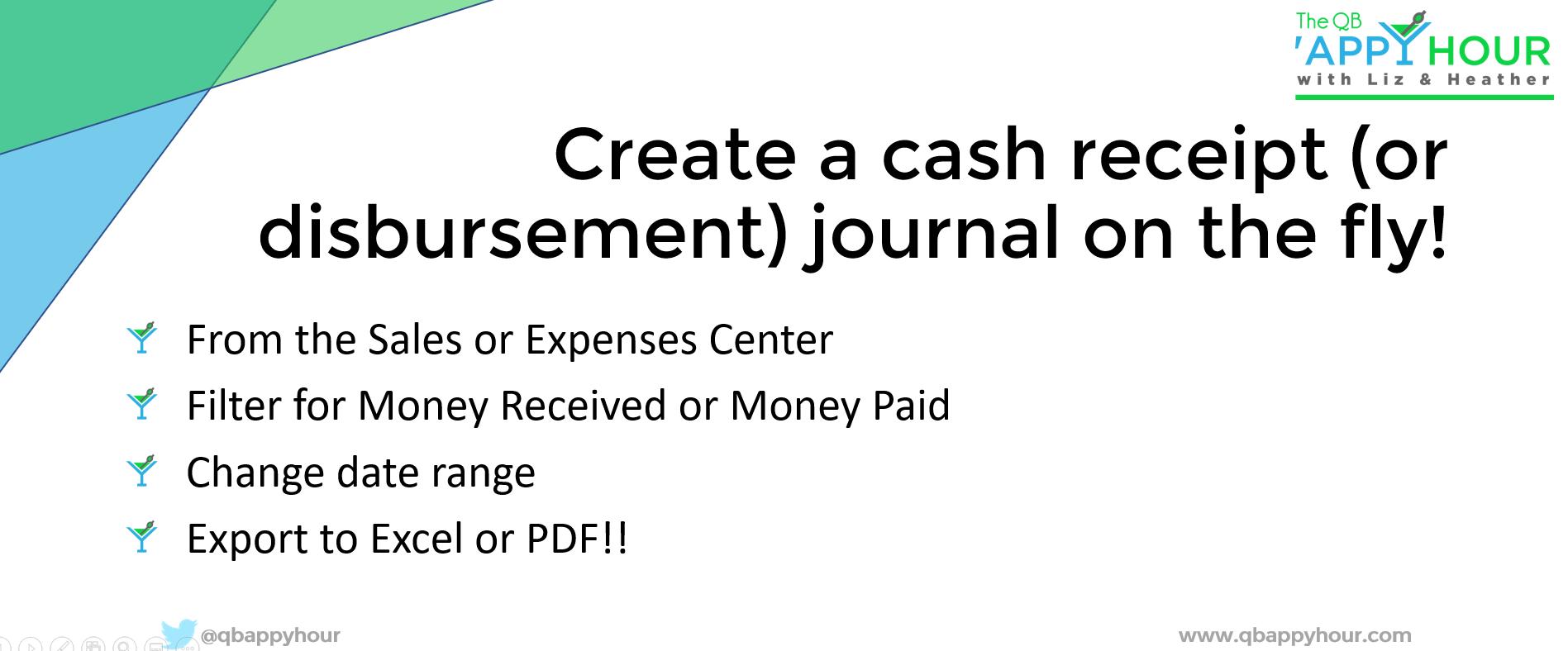 Create a cash receipt journal
