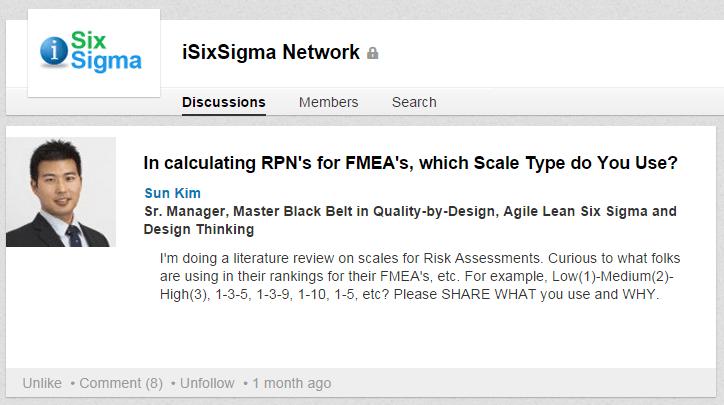 RPN for FMEA in Lean Six Sigma