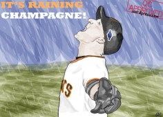 I don't know much about baseball, but I know this guy has been pretty darn awesome in the playoffs for the Giants. He seems to be enjoying himself very much in the rain like a 5-year old kid during the 9th inning of Game 7 of the NLCS. Just another day in the Bay.