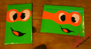 Ninja Turtle pouches with Ziplock closures, taped together with duct tape / QC APPROVED.