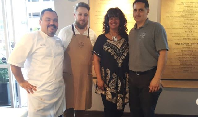 That me at Omaggio Pizzeria with (l-r) Chef Oscar, Owen the waiter, and Jack the manager.
