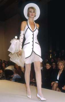 CLAUDIA SCHIFFER Seen here modeling Chanel designs at the label's 1990 fashion show, Schiffer, now 46, was a favorite of designer Karl Lagerfeld ever since he enlisted her to model for the iconic brand when she was only 17. © Pierre Vauthey/Sygma/Sygma/Getty